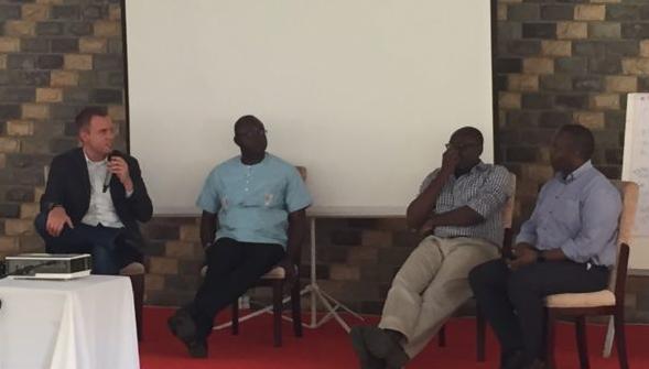Paul Biondich is speaking with Luke Bawo, Olasupo Oyedepo, and Steven Wanyee